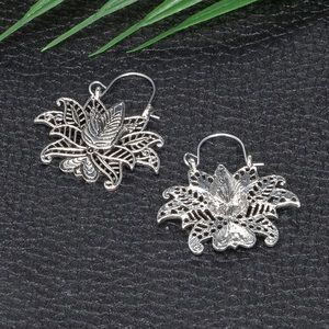Jewelry - Antiqued Silver Lotus Boho Earrings